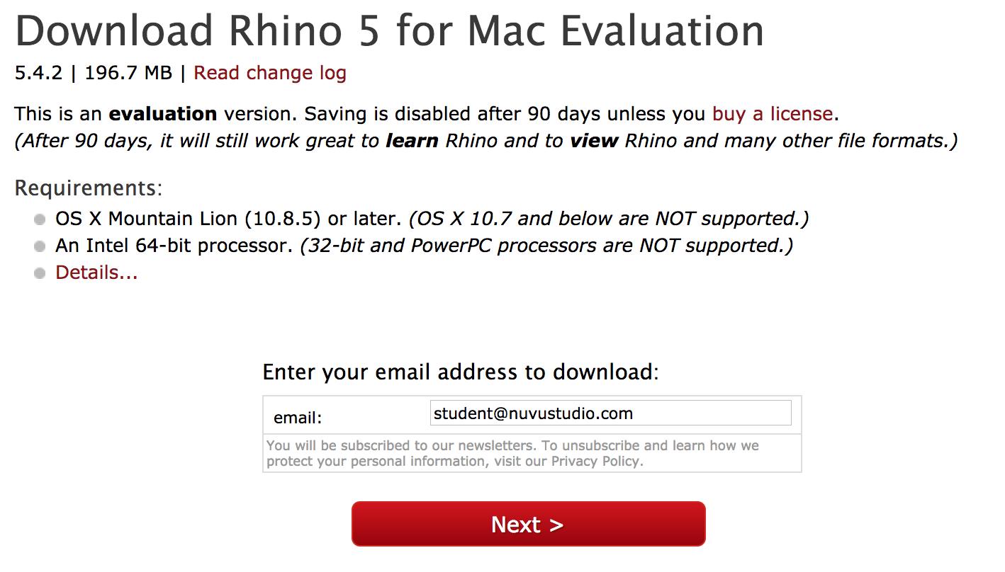 Installing Rhino